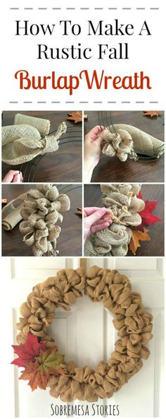 This rustic fall burlap bubble wreath is simple, beautiful, easy to make, and involves just a few materials. Check out this post for the easy step-by-step tutorial! by shari Burlap Bubble Wreath, Burlap Wreath Tutorial, Diy Fall Wreath, Fall Wreaths, Fall Wreath Burlap, Fall Canvas, Christmas Crafts, Christmas Decorations, Jute