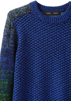 Proenza Schouler / Cropped Ombre Pullover | La Garçonne .... inspiration and love this mix of multi colour yarn on the sleeves with the textured stitch of the body