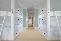 Patterson Custom Homes - boy's rooms - bunk room, built in bunks, double bunk beds, bunk beds either side of room, two bunk beds, white bunk beds The handles are genius