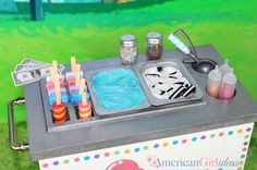 Cute DIY American Girl Ice Cream Cart. What a spectacular gift idea would this be for any American Girl Doll fan!