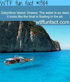 Zakynthos Island, Greece - crystel clear water  where is the fish?   WTF FUN FACTS HOME / SEE MORE tagged/ nature and places FACTS    (source)
