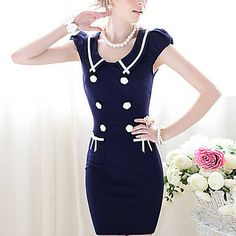 $32.59 TS-Slim Contrast Color Double-Breasted Dress - Free Shipping