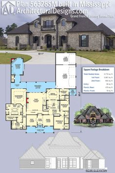 Our client built French Country Home Plan 56328SM in Mississippi. This home gives you 4 beds, 4 baths and over 3,700 square feet of heated living space. Ready when you are. Where do YOU want to build? #56328sm #adhouseplans #architecturaldesigns #houseplan #architecture #newhome #newconstruction #newhouse #homedesign #dreamhome #dreamhouse #homeplan #architecture #architect #acadianhouse #acadianhome #southernhouse #southernhome #southernliving #southernlife #frenchcountry