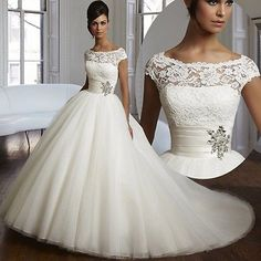 Couture Ball Gown Wedding Dress Lace Tulle Plus Size Bridal Gowns Custom Made in Clothing, Shoes & Accessories, Wedding & Formal Occasion, Wedding Dresses | eBay
