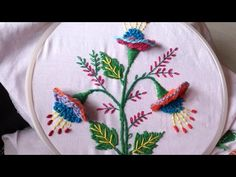 hand embroidery. hand embroidery designs. 3d flower. - YouTube