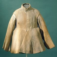 The elk hide buff coat worn by Gustavus Adolphus (Gustav II Adolf) when he was fatally injured at the Battle of Lützen in 1632.