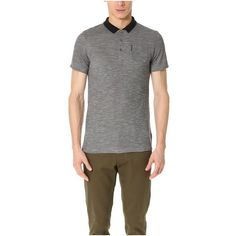 Ben Sherman Polished Viscose Polo ($42) ❤ liked on Polyvore featuring men's fashion, men's clothing, men's shirts, men's polos, silver chalice marl, mens short sleeve polo shirts, mens slim fit short sleeve shirts, mens shiny shirt, mens slim fit polo shirts and mens slim fit shirts
