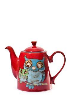 GORGEOUS!! Glazed Owl Teapot