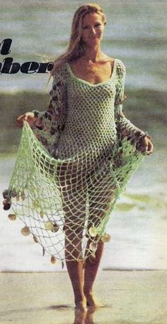 Beautiful Beachcomber.  The Australian Women's Weekly, Wednesday 10 September 1975.  Crochet Dress. Saved to Evernote/iBooks.  5ply 100g x 3.2