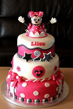 Minnie Mouse cake I think that this is the perfect cake for Brandi's baby shower!!