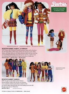 1991's United Colors of Benetton line of Barbie and friends dolls. #vintage #1990s #toys #nostalgia #Barbies