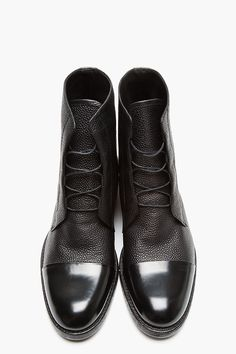 MR.HARE Black Scotchgrain & Matte Leather Boots