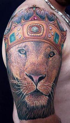 Lion Head Crown Tattoo