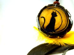 Halloween Black Cat Wood Burned Pendant Black Cat and by LadyDryad