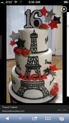 Paris theme Sweet 16 cake would want it with Big Ben instead