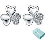 Acxico 925 Sterling Silver Heart Shape Hollow out Three Leaves Clover with Crystal Inlaid Stud Earrings Price: USD 5.69 | United States