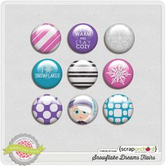 Snowflake Dreams Flairs Free Digital Scrapbooking, Scrapbook Embellishments, Snowflakes, Dreams, Marketing, Project Life, Sd, Projects, Pink