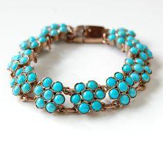 Vtg Antique Edwardian Genuine Natural Turquoise Cluster Bracelet Forget Me Nots