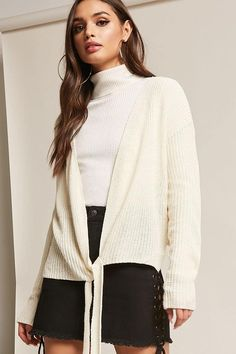 Product Name:Sweater-Knit Tie-Front Top, Category:sweater, Price:48