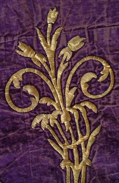 Details Of rectangular cover of purple velvet with metallic embroidery executed in filled couch stitch. Circa: mid-19th c. Origin: Turkish
