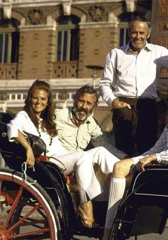 "Claudia Cardinale, Jason Robards and Henry Fonda in Italy whilst filming ""Once Upon a Time in the West"""