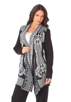 """Diamond decor adorns this wonderfulplus size cardigan. this pretty cardigan is fashionably loose and gracefully oversized; the generous cut gives you ultimate style (and comfort!)alluring ribbed sleeves end below the wristssoft cardi in a modern diamond cage patternat about 20"""" this cardigan meets you below the waist for full flattery and coverageacrylic, machine wash, imported plus size cardigans, sweaters, tops, jackets - diamond cardigan, sizes S (12W), M (14W-16W), L (18W-20W), 1X ..."""