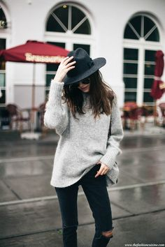 The Fashion Cuisine wearing Brixton Liv fedora hat and HM grey mohair sweater