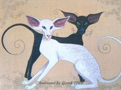 LARGE-LIMITED-EDITION-ORIENTAL-CAT-PRINT-FROM-ORIGINAL-PAINTING-SUZANNE-LE-GOOD