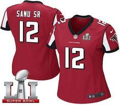 Nike Falcons #12 Mohamed Sanu Sr Red Team Color Super Bowl LI 51 Women's Stitched NFL Elite Jersey