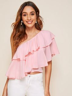 Pink One Shoulder Layered Ruffle Solid Top Pink Outfits, Summer Outfits, Fashion Outfits, Womens Fashion, Blouse Styles, Blouse Designs, One Shoulder Tops, Spring Summer Fashion, Sleeve Styles