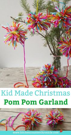How For Making Candles In Your House - Solitary Interest Or Relatives Affair Boho Christmas Pom Garland - A Lovely Kid-Made Christmas Garland Inspired By Amelia From The Girl Who Saved Christmas. Christmas Pom Pom, Diy Christmas Garland, Christmas Projects, Handmade Christmas, Christmas Holidays, Colorful Christmas Tree, Le Grinch, Retro Christmas Decorations, Pom Pom Garland