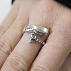This brass and silver whale ring from Etsy. | 22 Unique And Beautiful Rings For Animal Lovers
