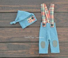 Newborn Photography Set  Upcycled Gray And Red Plaid Overalls with blue pants and hat by ToodleBugCreations, $26.00