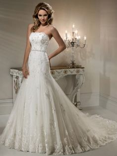 Strapless Lace Applique Tulle over Satin Wedding Dress