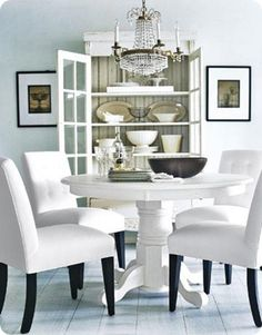 need a pedestal table for small dining rooms! White Dining Room Chairs, Dining Room Table, White Chairs, Dining Rooms, Dining Area, Contemporary Chairs, Modern Chairs, Modern Furniture, Dining Room Inspiration