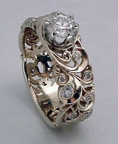 """white gold and diamond hand-engraved """"Tiara"""" ring by Dmitriy Pavlov. Available at Studio Jewelers in Madison WI. Jewelry Rings, Jewelry Accessories, Fine Jewelry, Jewelry Design, Unique Jewelry, Jewlery, Bijoux Art Nouveau, Ring Verlobung, Tiara Ring"""