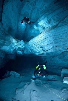 "Orda is a gypsum crystal cave found underneath the western Ural Mountains.From the book ""Orda Cave Awareness Project"" Underwater Caves, Underwater Photos, Underwater World, Underwater Photography, Scuba Diving Gear, Cave Diving, Sea Diving, Deep Sea, Sea World"