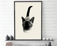 Burmese Cat, Cat, Black and White Art, Minimalist Poster, Gift for Cat Lover, Cat Lover Gift, Siamese Cat, Cat Print, Downloadable Prints by UrbanEpiphanyPrints on Etsy