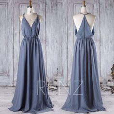 2016 V Neck Chiffon Bridesmaid Dress Steel Blue by RenzRags