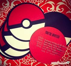 Use this free template to create Pokemon Party Invites! This is a cute pocket card shaped like a Pokeball.: