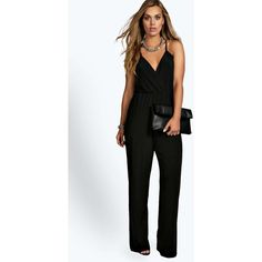 Boohoo Plus Caitlyn Strappy Wrap Front Jumpsuit ($35) ❤ liked on Polyvore