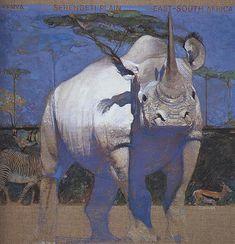 Gallery painting by Robert Heindel Year unknown Courtesy of David Apatoff Art Inspo, Kunst Inspo, Painting Inspiration, Art And Illustration, Rhino Art, Figurative Kunst, Wildlife Art, Art Design, Animal Paintings