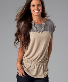 Take a look at this Ash Gray & Tea Stain Gemma Top by On Trend: Women's Apparel on #zulily today!