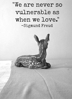 We are never so vulnerable as when we love. -Sigmund Freud