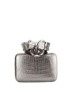 V30AJ Nancy Gonzalez Butterfly Crocodile Box Clutch Bag, Anthracite/Multi