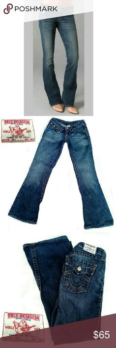 """LABOR DAY SALETRUE RELIGION """"JOEY"""" FLARE TRUE RELIGION """"JOEY"""" FLARE JEANS EUC Pre-Loved/ EUC /(1st Pic for Similarity) *.  2 Button Flap Back Pockets *.  2 Front Pockets / One w/Button Flap *.  Brass Buttons & Hardware *.  Size 27 / Inseam Approx; 31"""" Pictures of True Religion Joey Jeans 65 More Pictures Provided Upon Request. True Religion Jeans Flare & Wide Leg"""