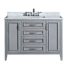Madison 48 in. Vanity in Gray with Marble Vanity Top in Carrara White-PEMADISON48 - The Home Depot