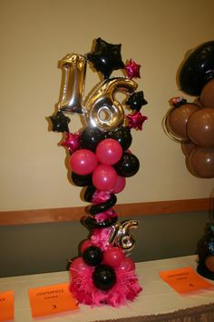 1000 images about center pieces on pinterest balloon for Balloon decoration ideas for sweet 16