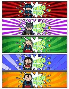 Superhero Water Bottle Labels (Hero H2O!) -- Perfect for parties, meet-the-teacher, and as a pump-up treat before the BIG TEST!