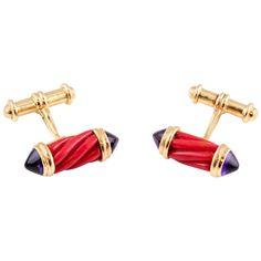 Bulgari Coral Amethyst Gold Cufflinks | From a unique collection of vintage cufflinks at https://www.1stdibs.com/jewelry/cufflinks/cufflinks/